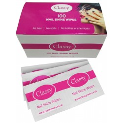 Classy Nails Shine Wipes Pre Wipe & Sticky Residue Remover - Box of 100