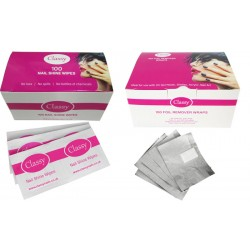 Classy Nail Shine Wipes & Foil Remover Wraps Duo Set